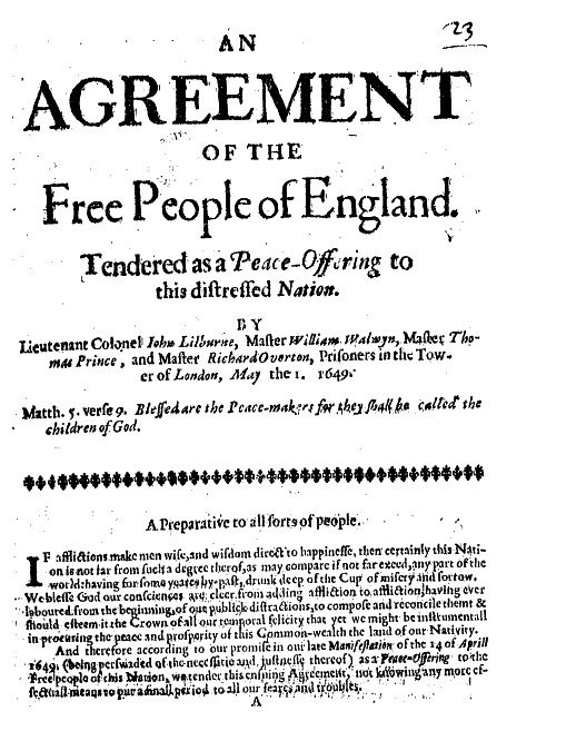 An Anthology Of Leveller Tracts Agreements Of The People Petitions