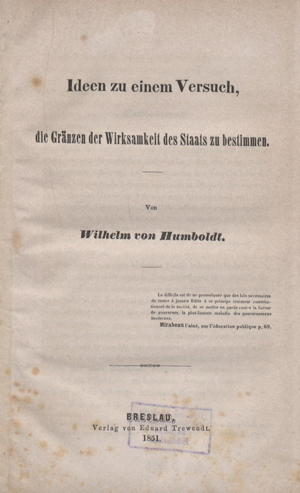 wilhelm von humboldt's the sphere and duties of government (1854, Innedesign