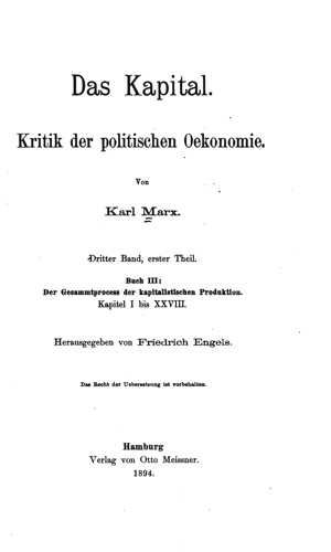 Marx, Das Kapital Buch 3a (1894) - Online Library of Liberty