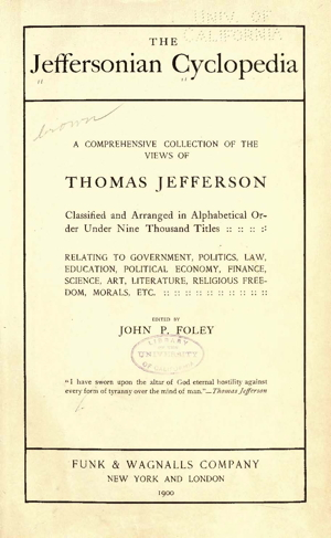 Extract from The Jeffersonian Cyclopedia (Illustrations and Topical index)
